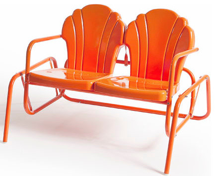 Parklane double glider tangerine modern outdoor gliders other by retro metal chairs