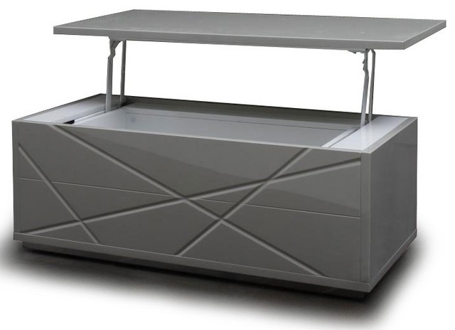 Modern gray lift top coffee table with storage kaga contemporary coffee tables san - Contemporary side tables with storage ...