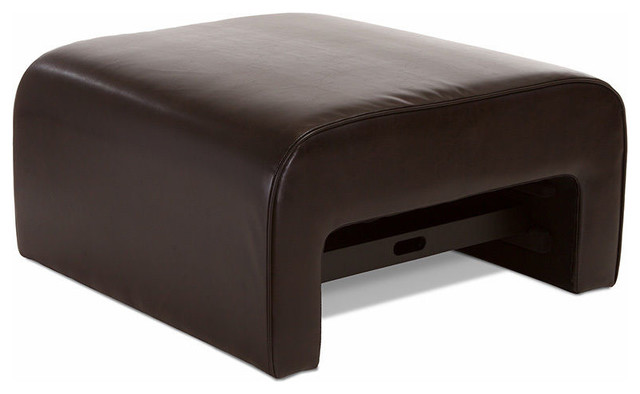 Duvall Leather Ottoman Coffee Table W Pull Out Tray Modern Footstools And Ottomans By