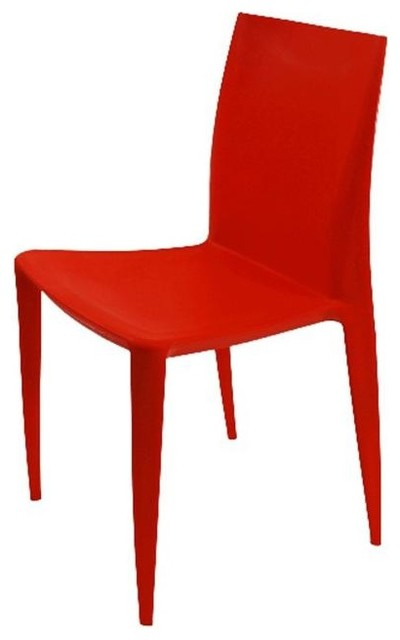 Square Dining Chair In Orange Contemporary Dining