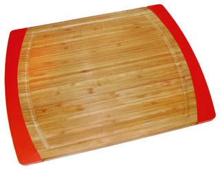 Bamboo Red Silicone Non Slip Cutting Board Large