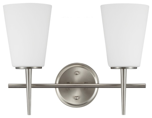 2-Light Driscoll Wall Sconce, Brushed Nickel - Transitional - Bathroom Vanity Lighting - by Sea ...