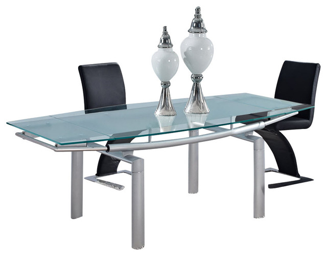 Global furniture usa 88dt rectangular frosted glass dining for Frosted glass dining table