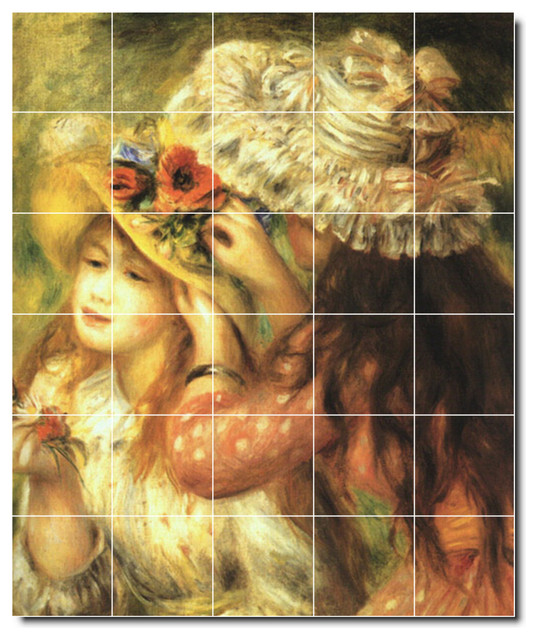 Auguste renoir children painting ceramic tile mural 12 for Ceramic mural painting
