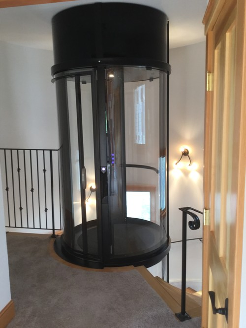 Visi Round Home Elevator in Craftsman Style Home