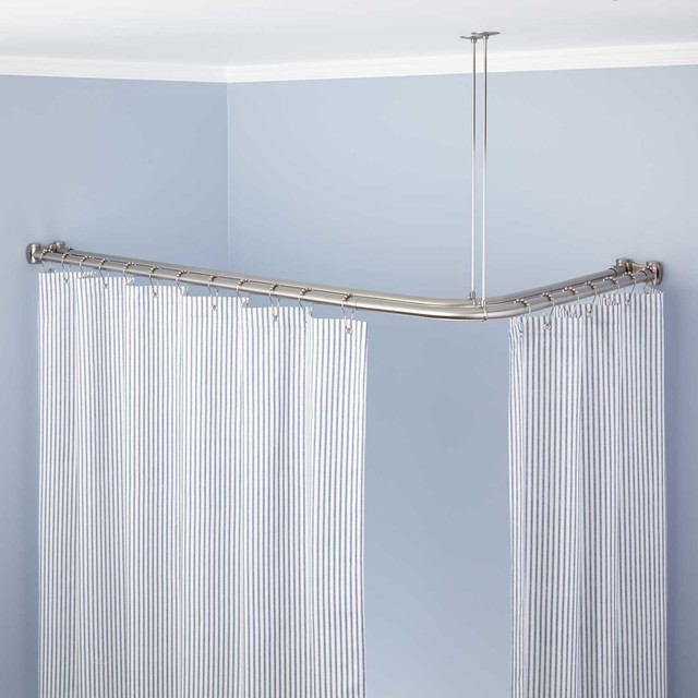 Corner Double Shower Curtain Rod Traditional Shower Curtains By Signatu