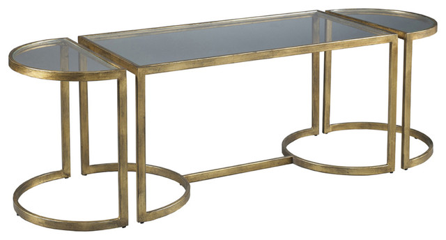 Lillian August Logan Antique Gold Cocktail La15311 01 Contemporary Coffee Tables By