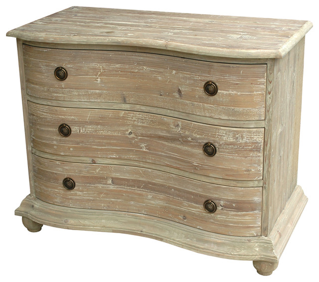 Rodin french country curved reclaimed pine white wash dresser 44 inch traditional dressers Lime washed bedroom furniture