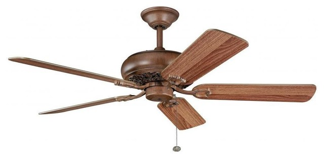 Transitional Antique Wood Finish 52-inch Ceiling Fan