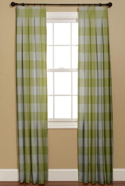 Inverted Box Pleat Curtain Buffalo Check Limeade Modern Curtains By Curtainsmade4u