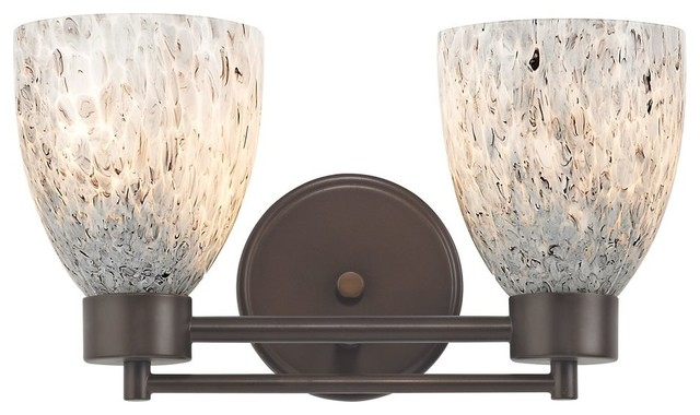 Art Glass Vanity Light : Modern Bathroom Light with Grey Art Glass in Neuvelle Bronze Finish - Modern - Bathroom Vanity ...