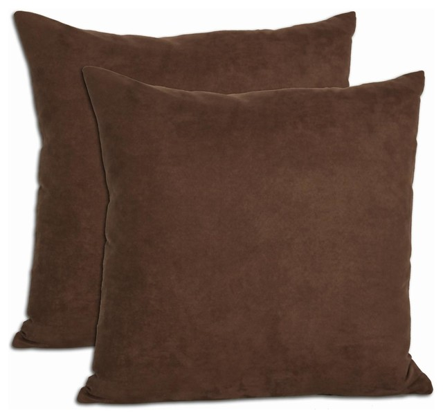 Chocolate Microsuede Feather and Down Filled Throw Pillows (Set of 2) - Contemporary - Scatter ...