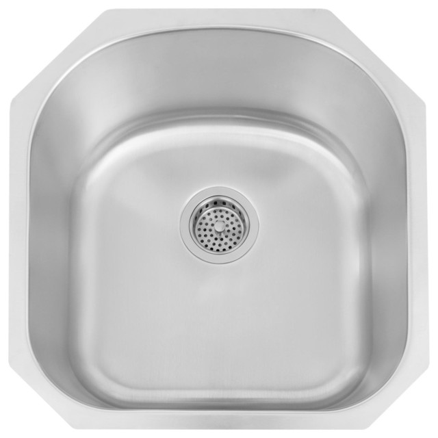 infinite d shaped stainless steel undermount sink