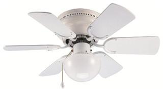 """White 30"""" Hugger Ceiling Fan w Light Kit Transitional"""