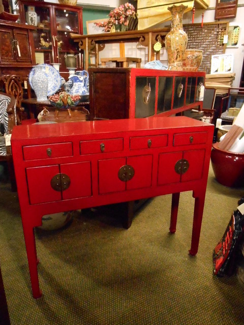 """Chinese Lacquer Lady Chest, 37"""" wide x 11"""" deep - Asian ..."""