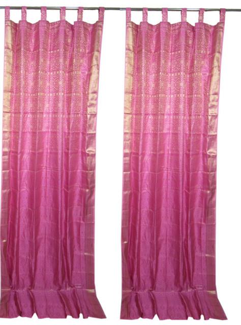 2 India Curtains Mexican Pink Brocade Sari Drapes Golden Border Window Treatment Asian Curtains