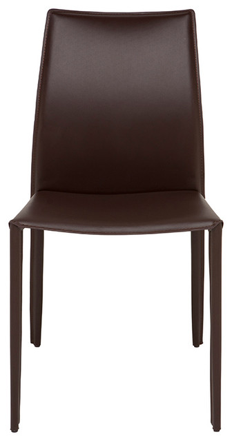 Sienna dining chair by nuevo living brown leather for Modern brown leather dining chairs