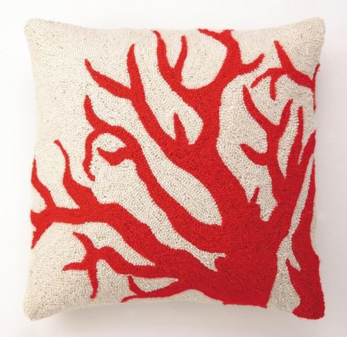 Red Coral Hook Pillow - Eclectic - Decorative Pillows - by Shop Ten 25