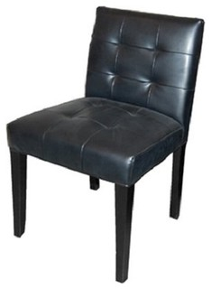 Low back tufted leather dining chair black contemporary for Modern low back dining chairs