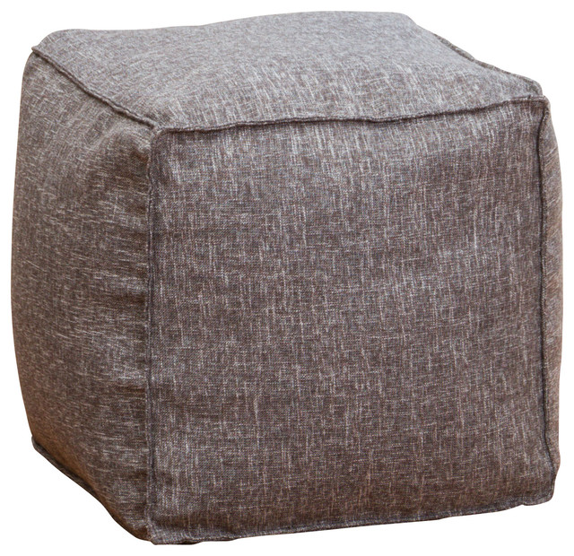 Floor Pillows Modern : Luther Fabric Cube Pouf, Gray - Modern - Floor Pillows And Poufs - by GDFStudio