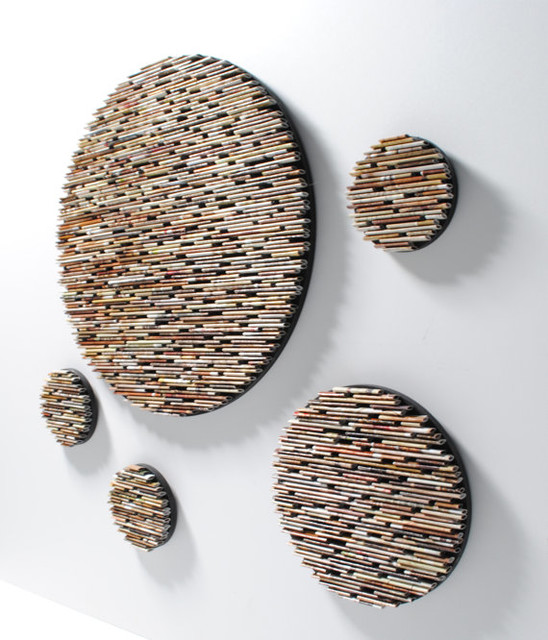 Recycled Magazines Neutral Colored Round Wall Art By
