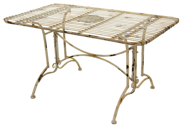 Rustic rectangular garden table distressed white for Oriental dining table