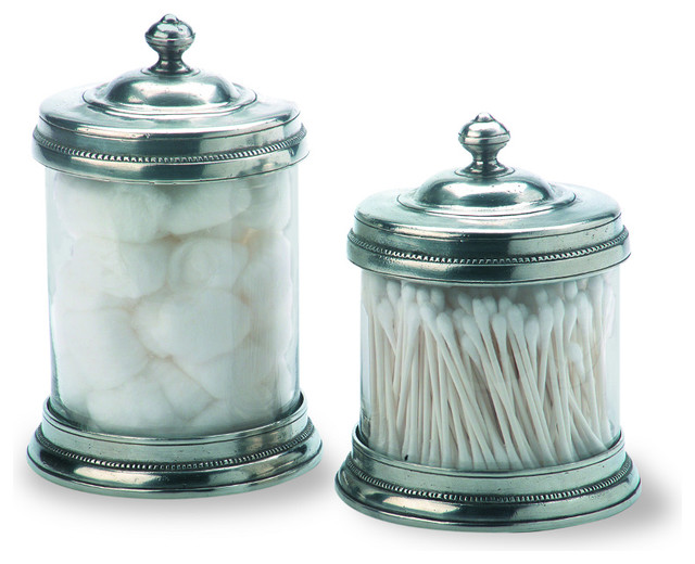 Match bathroom cannister small traditional bathroom for Small bathroom jars
