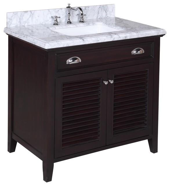Savannah 36 Bath Vanity Carrara Chocolate Tropical Bathroom Vanities And Sink Consoles