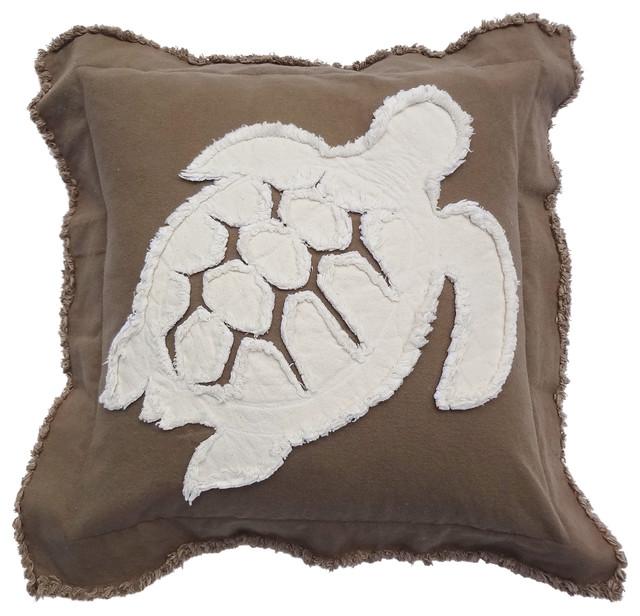 Coastal Inspired Throw Pillows : Coastal Turtle Throw Pillow - Beach Style - Decorative Pillows - by Sandy by the Sea Designs