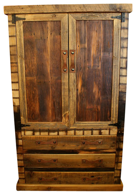 Black mountain wardrobe armoire with clothing rod rustic