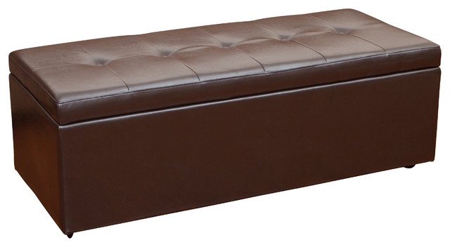 eldon chocolate brown pu leather storage ottoman