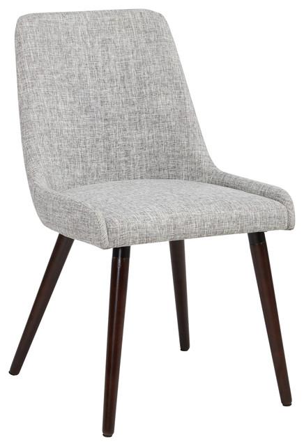 Set of 2 Fabric Side Chairs Light Gray Fabric