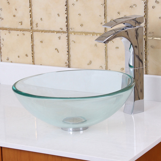 ... Small Clear Tempered Glass Bathroom Vessel Sink contemporary-bathroom