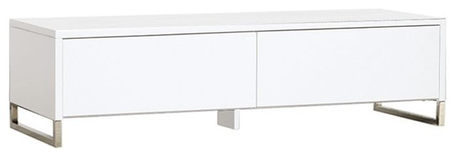 Hudson Media Console White Finish Contemporary
