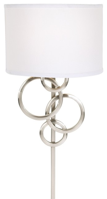 Possini euro design circles plug in wall sconce for Possini lighting website