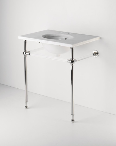Crystal metal round two leg single washstand traditional bathroom vanities and sink consoles for Single sink consoles bathroom