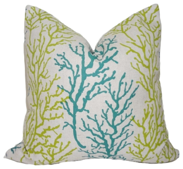 Teal Green Decorative Pillows : Nautical Teal and Green Coral Throw Pillow - Beach Style - Decorative Pillows - by HomeLiving Inc