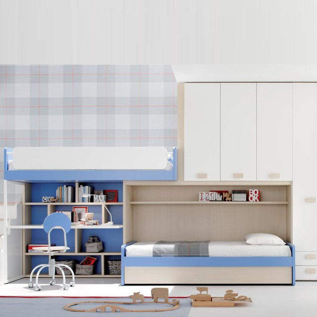 blue children s bedroom study furniture set by clever