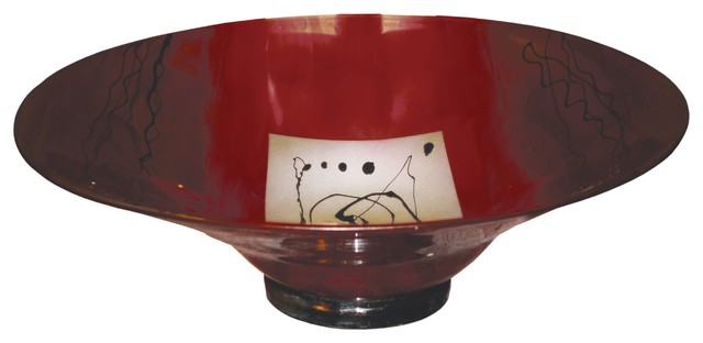 Red Gold Glass Bowl Contemporary Decorative Bowls By