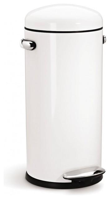retro step trash can white modern kitchen bins by simplehuman. Black Bedroom Furniture Sets. Home Design Ideas