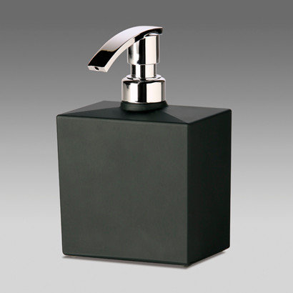 Squared black frosted crystal glass soap dispenser for Black glass bathroom accessories
