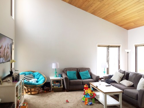 Wall Decor Advice For Odd Shaped Living Room & Sloped Ceiling