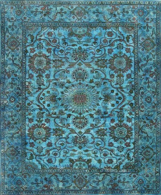 Overdyed Tiffany Blue Rug Area Rugs Other Metro By