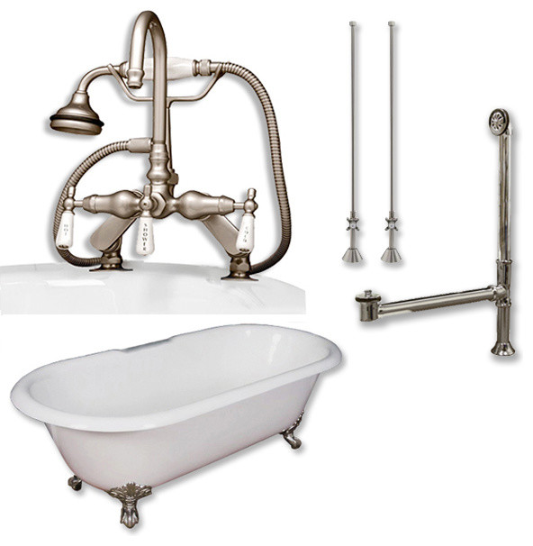 Cast Iron Double Clawfoot Tub 60 Telephone Faucet Brushed Nickel Package Traditional