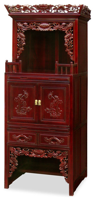 Rosewood 3-Level Lotus Altar Cabinet - Asian - Kitchen Cabinetry - by China Furniture and Arts