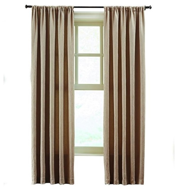 Home Decorators Collection Linen Solid Crushed Room Darkener Curtain 50 In W Contemporary