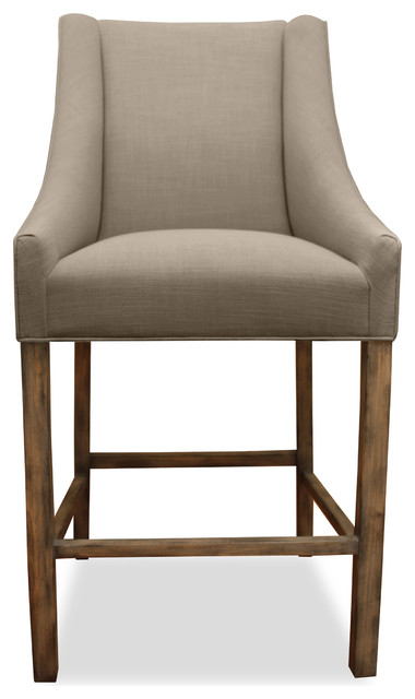 Park Linen Upholstered Counter Stool Brown Transitional Bar Stools And C