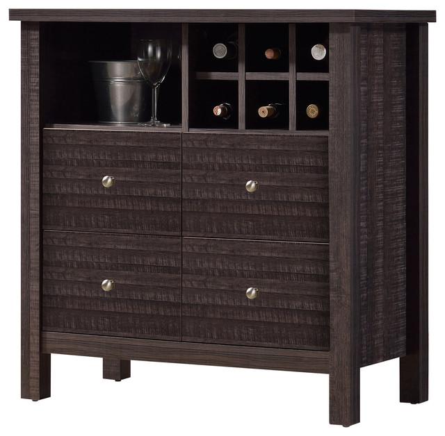 Dakota Modern and Contemporary Dark Espresso Brown Wood Wine Bar Cabinet - Wine And Bar Cabinets ...