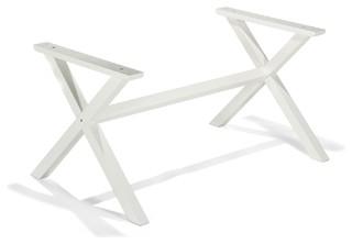 Vario cross pi tement de table en pin massif blanc - Pied de table moderne ...
