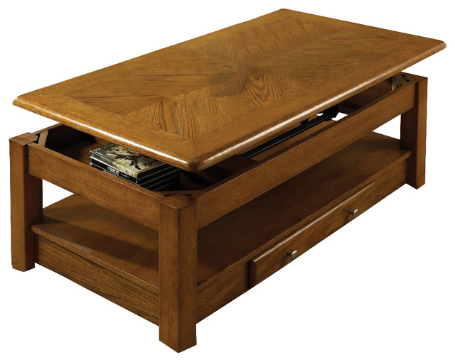 Steve Silver Nelson 48x26 Lift Top Cocktail Table In Dark Oak Transitional Coffee Tables